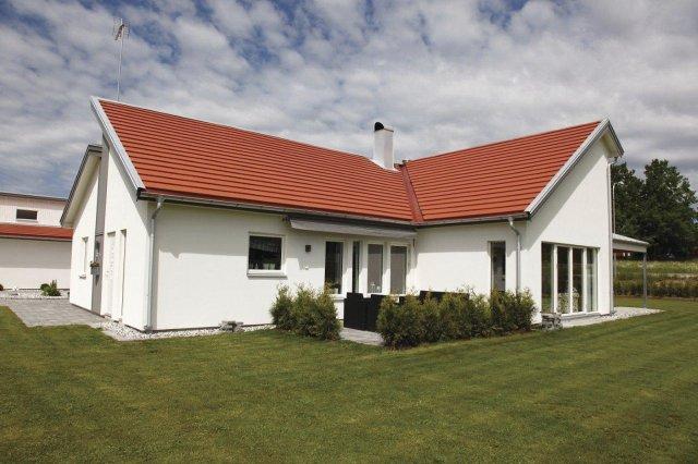 Střešní krytina typ Carisma,  pultová střecha, odstín cihlová