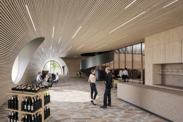 Vinařství nabídne kromě prodeje a degustace vín také společenské akce, restauraci a ubytování návštěvníků s prohlídkami výrobních prostor. Zdroj: FAM Architekti, vizualizace Studio Monolot